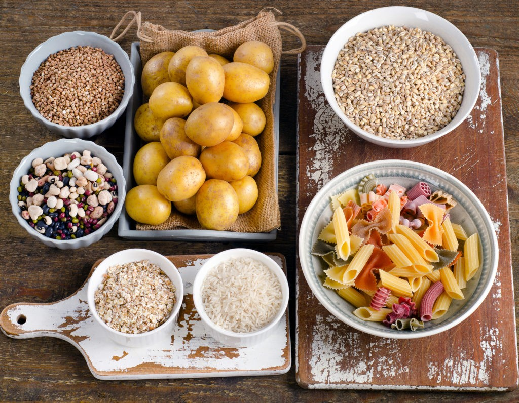 Healthy Food: Best Sources of Carbs on a wooden background. Top view